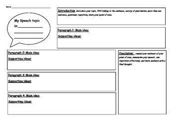 Planning Sheet for Speech Writing