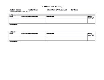 Planning Template for Special Education Students