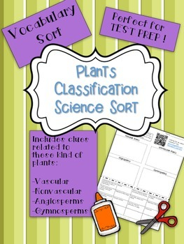 Plant Classification Science Vocabulary Word Sort