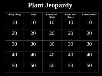 Plant Jeopardy Game  Powerpoint