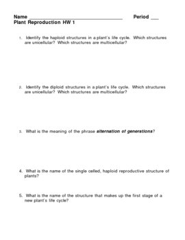 Plant Reproduction Homework Assignment 1