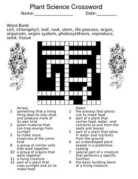 Plant Science Vocabulary Crossword