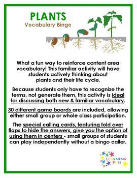 Plant Vocabulary Bingo