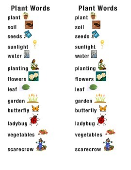 Plant Word Picture Sentence Helpers