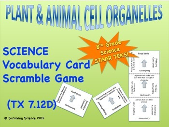 Plant and Animal Cell Organelles: Vocabulary Card Scramble