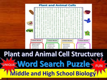Plant and Animal Cells- A fun & unique Word Search Puzzle