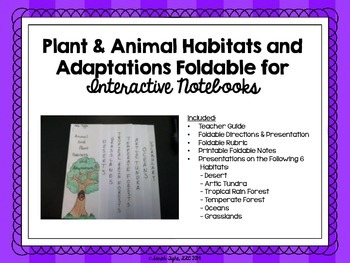 Plant and Animal Habitats and Adaptations Foldable and Pre
