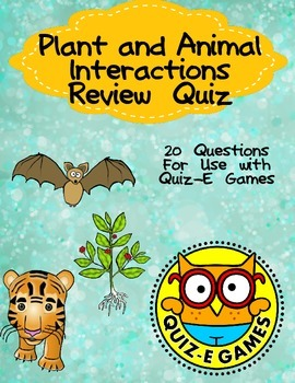 Plant and Animal Interactions Review Third Grade Science f