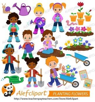 Planting Flowers.Children plant flowers.Digital Clipart. C