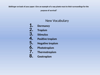 Plants Dormancy and Tropism vocabulary powerpoint and stud