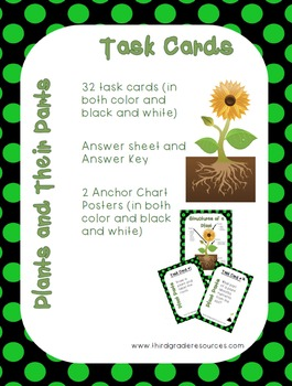 Plants and Their Parts Task Cards