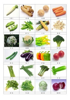 Plants we eat-Chinese 3partcards-Vegetables