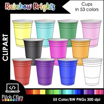 Plastic Cups Clip Art (Clip Art) - 12 Colors +BW! Commerci