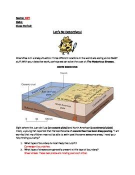 Plate Tectonic/Boundaries through Detective Worksheet