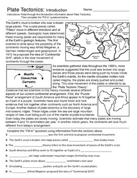 Plate Tectonics - Introduction and Map Activity