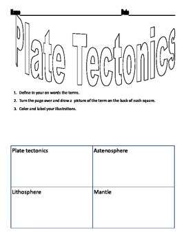 Plate Tectonics Vocabulary Worksheet