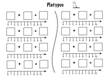 Platypus Math Addition Dice Game