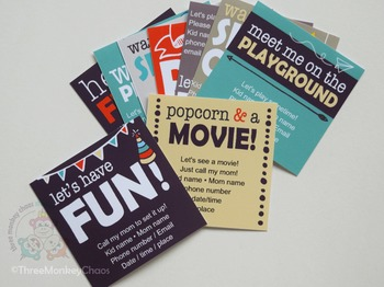 Play Date Cards/Sleepover Invites | Editable PDF | Printab