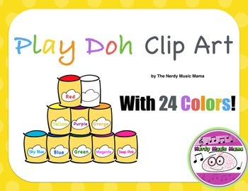 Play Doh / Play-Doh / Play Dough Cans Clipart ** 24 Colors **