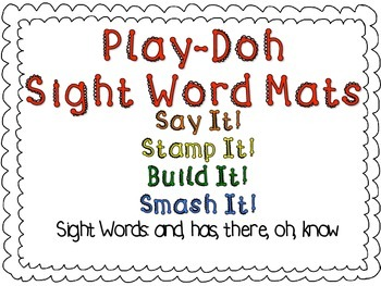 Play-Doh Sight Word Mats for Sight Words: and, has, there,