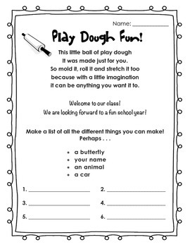 Play Dough First Day of School Activity