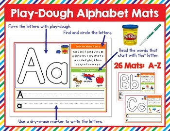 Play-Dough Letter Mats A-Z - Great for Word Work or Litera