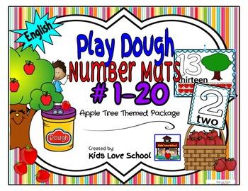Play Dough Mats-#1-20-Apple Tree Theme ENGLISH Version Lot