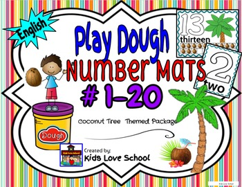Play Dough Mats-#1-20-Coconut Tree Theme ENGLISH Version L