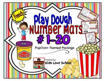Play Dough Mats-#1-20-Popcorn  Theme FRENCH Version Lots of Fun!