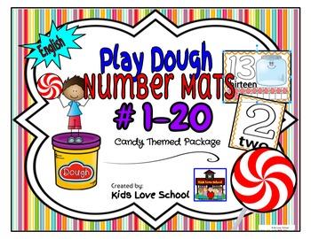 Play Dough Mats-#1-20-Swirly Candy Theme ENGLISH Version L