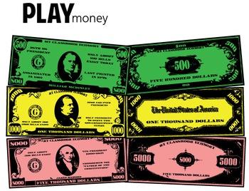 Play Money - Classroom Management (500, 1000, 5000)