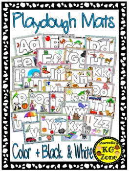 Alphabet Play dough Mats and coloring sheets- Color and Bl