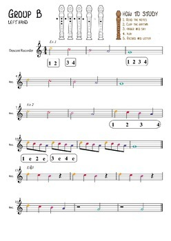 Play left hand notes B