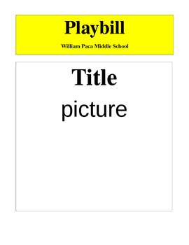 Playbill sample for students to fill in