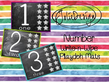 Playdoh Mats or Write-n-Wipe - Numbers - Chalkboard Theme