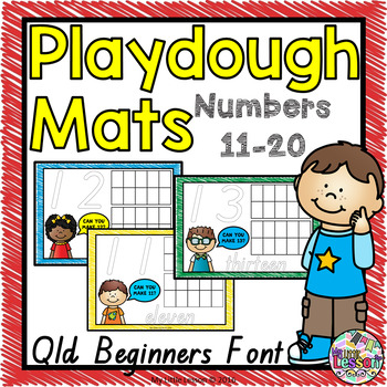 Playdough Mats Numbers 11-20 QLD Beginners Font