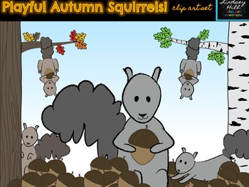 Playful Autumn Squirrels Clip Art Set!