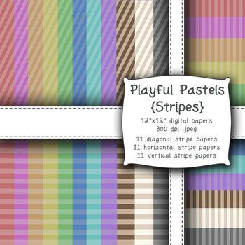 Playful Pastels {Stripes} Digital Papers -300dpi, 12x12, P