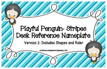 Playful Penguins- Stripes Desk Reference Nameplates Version 2