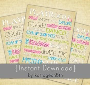 Playroom 101 Rules - Printable Poster