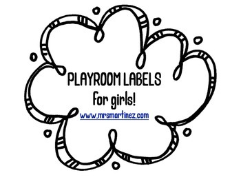Playroom labels for girls