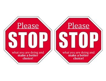 """Please Stop"" Warning Cards"
