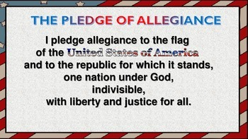 Pledge Of Allegiance Classroom Packet (Posters and Activities)