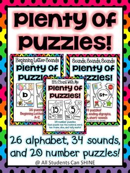 Alphabet, Blends, & Number Puzzles