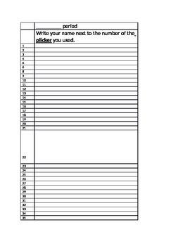 Plicker Recording Sheet