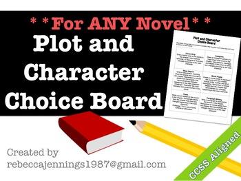 Plot/ Character Choice Board- For ANY Novel