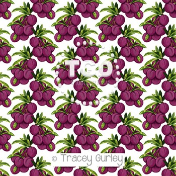 Plum Pattern Repeat on White digital paper Printable Trace
