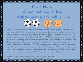 Plural Noun Sort and Booklet
