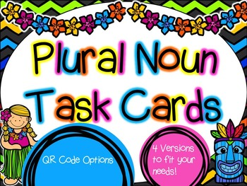 Plural Noun Task Cards with QR Code Option