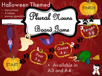 Halloween Activity - Plural Nouns Board Game
